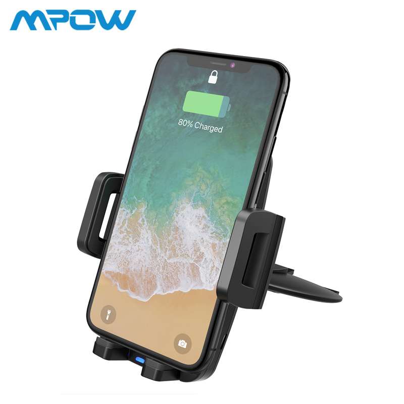 Mpow CA108 2 in 1 10W/7.5W/5W Qi Wireless Charger CD Slot Car Phone Holder Stand For iPhone X 8/Plus Samsung S9 S8 S7 S6 Note 8