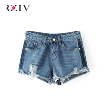RZIV 2017 font b women b font jeans casual solid color plus jeans hole denim shorts