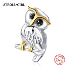 Strollgirl 925 Sterling Silver Cute Animal Owl Charms Beads Fit Pandora Bracelet For Mothers Day Gift Jewelry