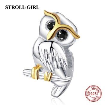 Strollgirl 925 prata esterlina bonito animal coruja encantos contas caber pandora pulseira para o dia das mães presente jóias de prata esterlina