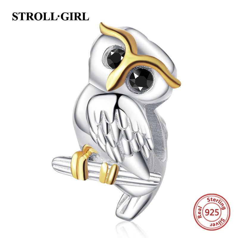 Strollgirl 925 スターリングシルバーかわいい動物フクロウチャームビーズフィットパンドラブレスレット母の日ギフトスターリングシルバージュエリー