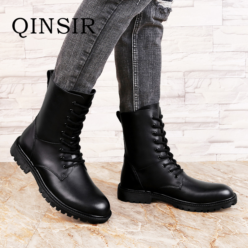 Winter Martin Military Boots Men Shoes Genuine Leather Mens Boots Plush Fur Boots Autumn Winter Casuals Shoes Zapatos Hombre plush casual suede shoes boots mens flat with winter comfortable warm men travel shoes patchwork male zapatos hombre sg083