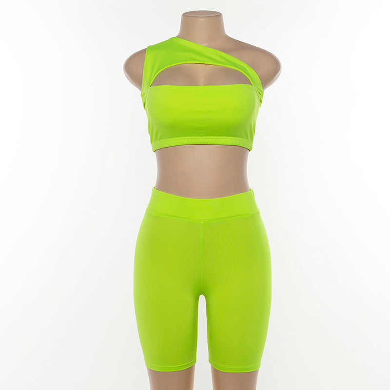 2019 summer women neon color two pieces set off shoulder hollow out crop top elastic high waist shorts outfit tracksuit