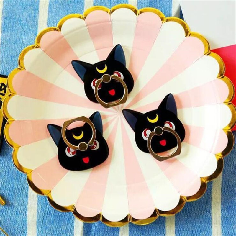 Novelty & Special Use Cartoon Anime Sailor Moon Luna Cat Mobile Phone Holder Paste Flat Ring Lazy Bracket Couple Mobile Phone Ring Bracket Costumes & Accessories