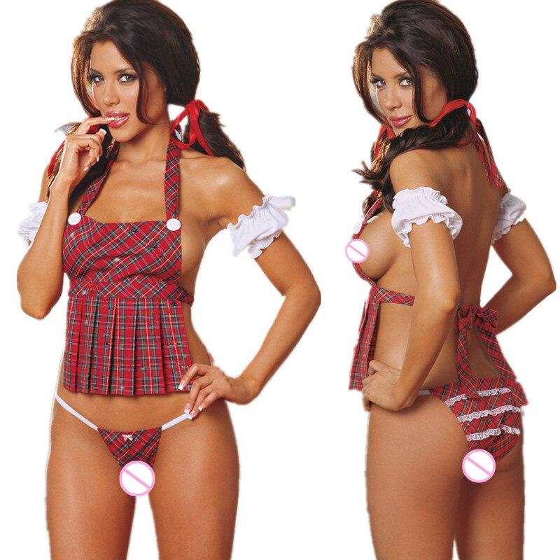 Women Sexy Lingerie Dress School Girl Student Cosplay Club Apron Plaid Lingerie Nightwear Temptation Uniform Game Play Costume
