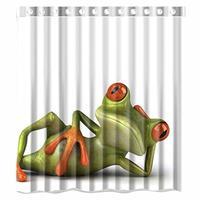 Custom Green Frog Custom Shower Curtain Pattern Waterproof Fabric Shower Curtain For Bathroom 66*72inch