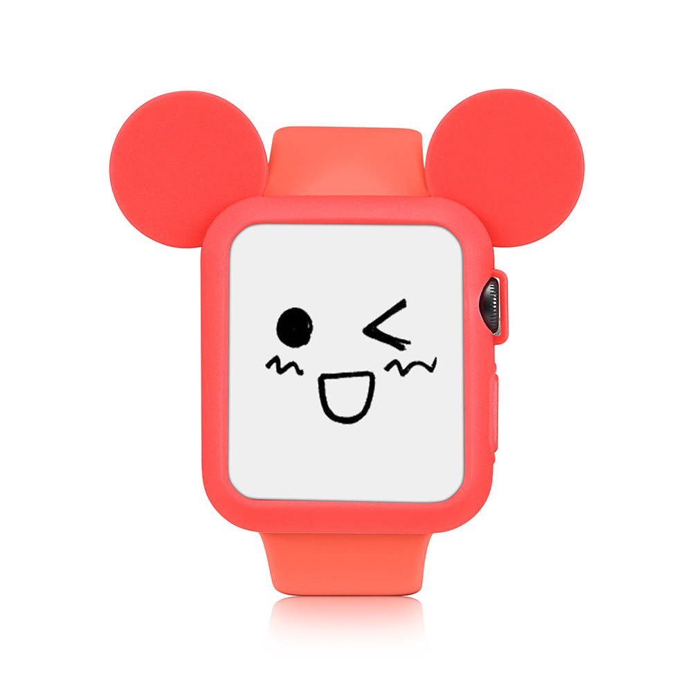 UEBN Watch Soft Silicone Case Cover For Apple Watch Series 1 2 3 Cover For Apple Watch 38mm 42mm Cute Mickey Mouse Ears series 1 2 3 soft silicone case for apple watch cover 38mm 42mm fashion plated tpu protective cover for iwatch