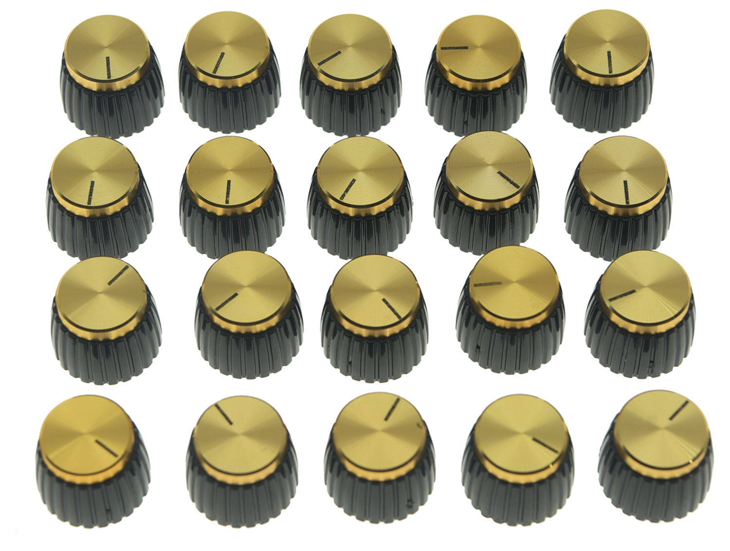 KAISH 20x Guitar AMP Amplifier Knobs Black w/ Gold Cap Push on Knobs fits Marshall kaish black p90 high power sound neck