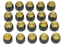 20x Guitar AMP Amplifier Knobs Black W Gold Cap Push On Knobs Fits Marshall