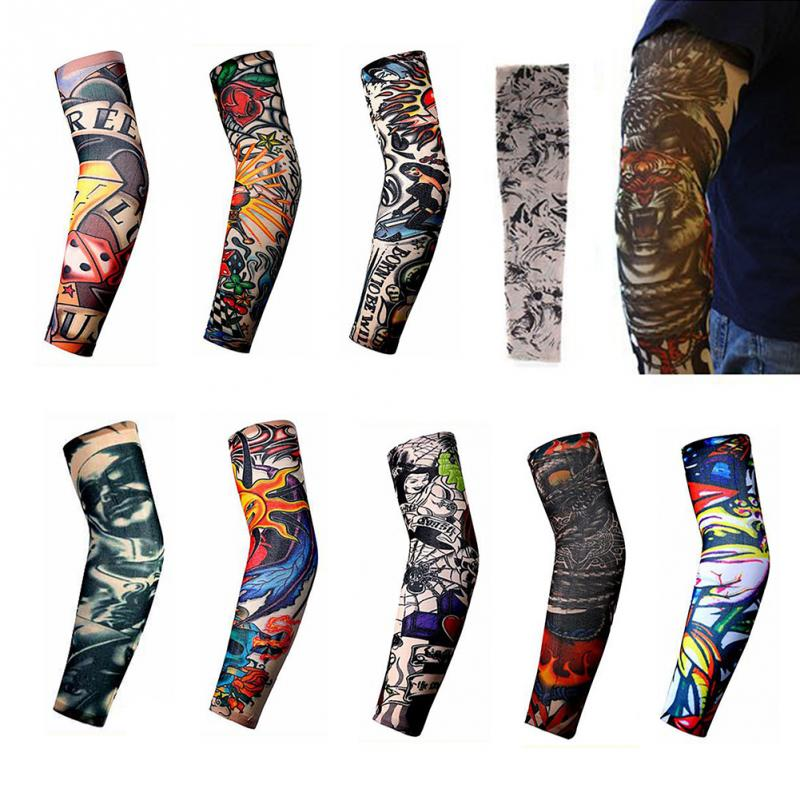 Men's Arm Warmers 1pcs Trendy Men Women New High Elastic Fake Temporary Tattoo Sleeve Designs Summer Sunscreen Body Arm Warmers