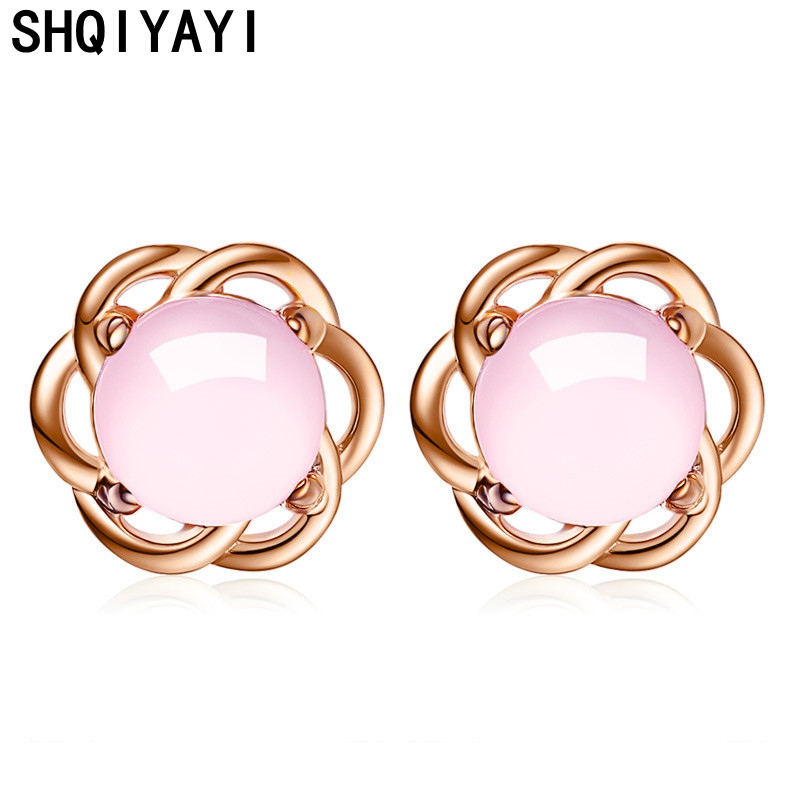 Shqiyayi Pink Stones Earrings For Women