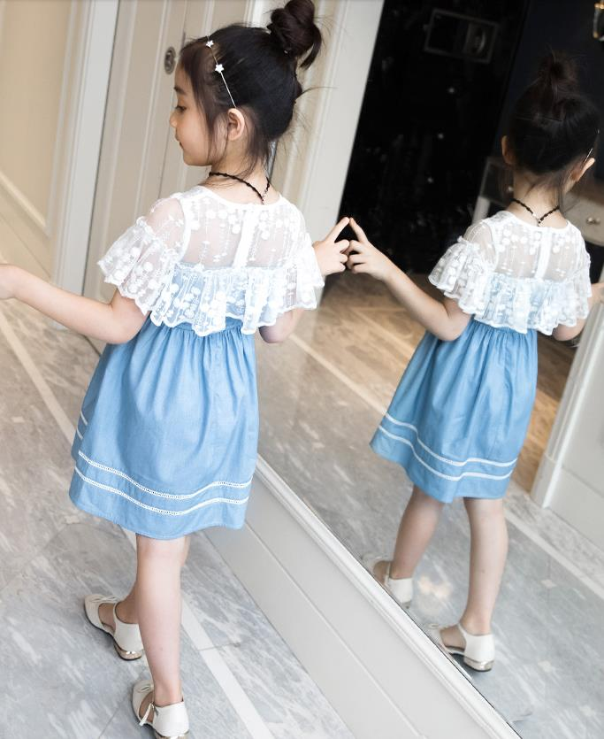 Baby Girl Dress For Girls Cotton Blue Party Birthday Costume Princess Shool Summer Lace Clothes Children Kids 6 7 years Dresses in Dresses from Mother Kids