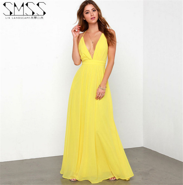 3af336a5a4ad 2019 Fashion Summer Solid Women Clothing Bohemia Maxi Dress Ladies Long  Beach Dresses Yellow Color Party Casual A1068