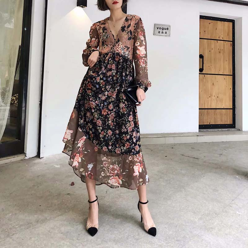 abe18eb9c JXYSY 2019 vestidos femeninos vestido de estilo inglés estampado patchwork  plisado cuello pico midi ...