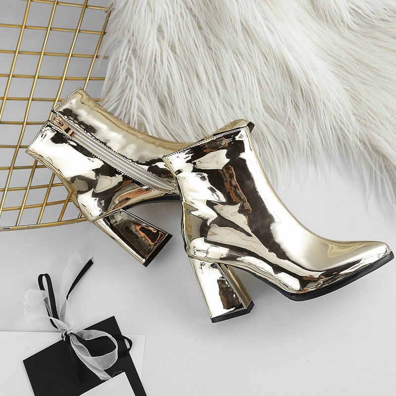 Gümüş Altın Siyah Patent Deri yarım çizmeler Kadınlar için Kalın Yüksek Topuklu Çizmeler Fermuar Sivri Burun Sonbahar Kış Çizmeler Kadın Ayakkabı