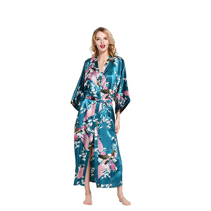 Green Sexy Chinese Womens Kimono Robe Long Robes With Peacock and Blossoms Printed Nightgowns Kimono Bath Gown Sleepwear D128