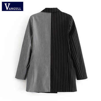 Women Elegant 2 in 1 Patchwork Suit Jacket Ladies Fashion Striped Double Breasted Coat Autumn Outwear capa mujer VANGULL 2018