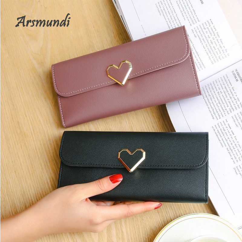 Arsmundi 2018 New Heart-shaped Long Wallet Ladies Multi-card Buckle Mobile Phone Purse Women PU Leather Wallet Carteira Feminina 1 black pu leather ladies long section of ultra thin magnetic buckle multi card wallet wallet size about 19 9 5 2cm