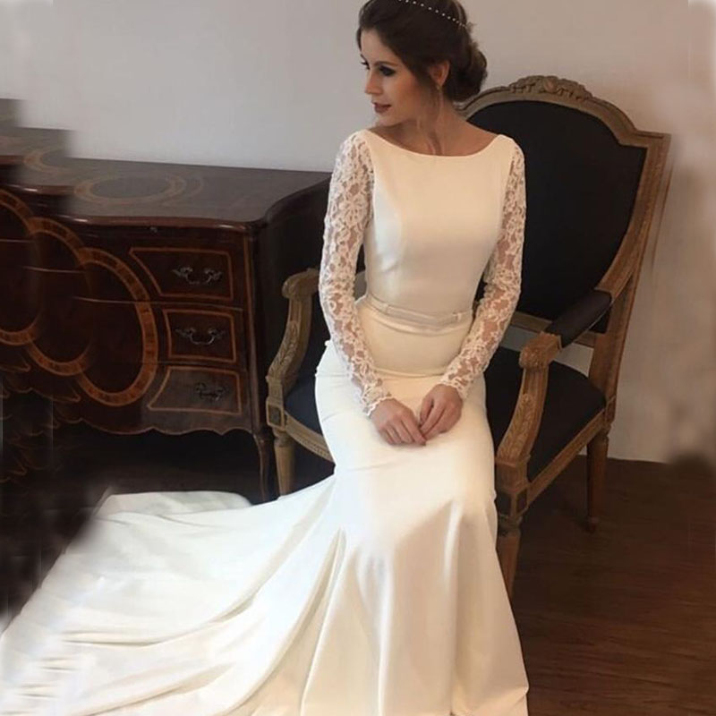 New Arrival Wedding Dresses Satin Lace Long Sleeves Wedding Bridal Gowns Sweep Train Vestido De Noiva Sheer Beach Wedding Guest