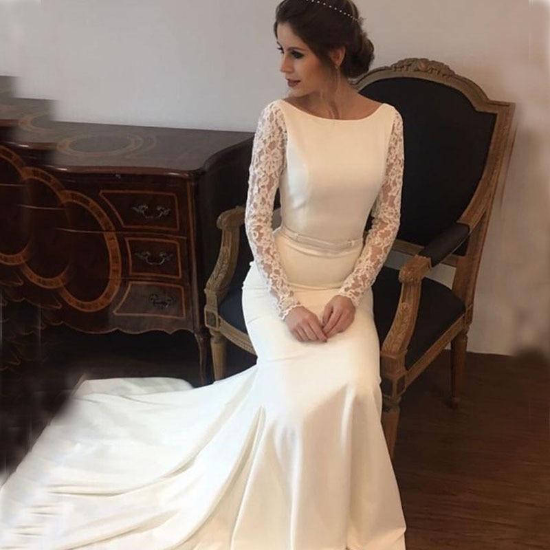 New Arrival Wedding Dresses Satin Lace Long Sleeves Wedding Bridal Gowns Sweep Train Vestido De Noiva Sheer Beach Wedding Guest