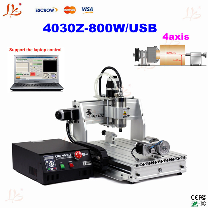 Cheap 4axis cnc router 4030 Z-USB 800W router with USB port water cool spindle motor  цены