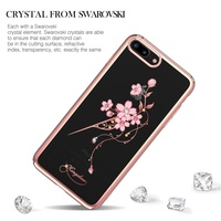 KINGXBAR Fitted Cover For IPhone 7 8 Plus Phone Case Authorized Swarovski Crystal Plated PC Back