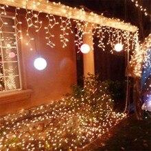 Nowy 10m * 0.5m 320 LED Light Flashing Lane girlanda żarówkowa LED lampy kurtyny sopel święta bożego narodzenia światła 110v 220v ue US AU wtyczka Noel