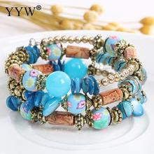 5Strands Bohemian Woman Bracelets Ethnic Assorted Colorful Beads Multiple Layers Girls Fashion Natural Bangles Randomly Sent