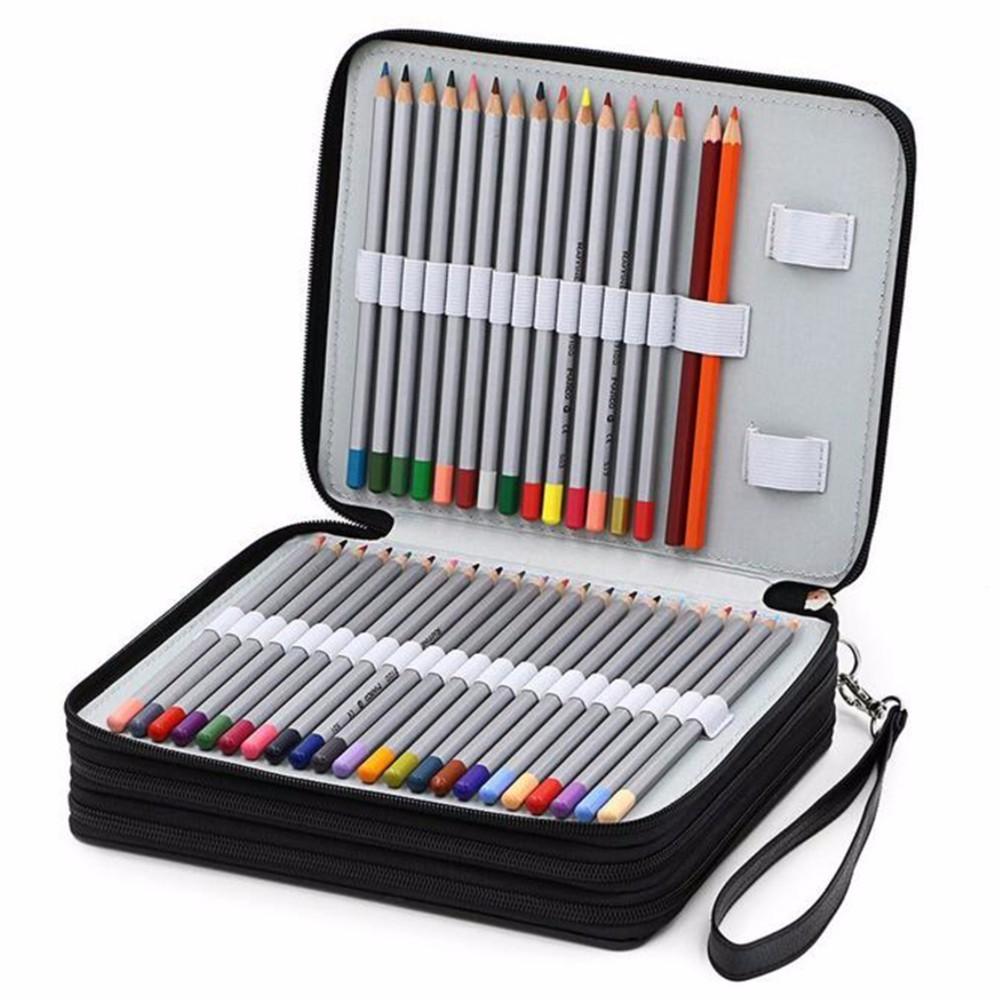 124 Holder 4 Layer Portable PU Leather School Pencils Case Large Capacity Pencil Bag For Colored Pencils Watercolor Art Supplies 120 holes pencils case school large portable pu leather capacity pencil bag for students painting sketch art supplies penalty