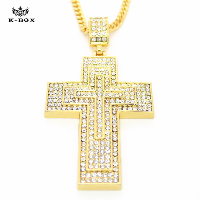"""HiP Hop Mens Large 3 Layer Cross  Golden Iced Out Pendant 28"""" Inch Necklace Cuban Chain Men Women Vintage Jewelry"""