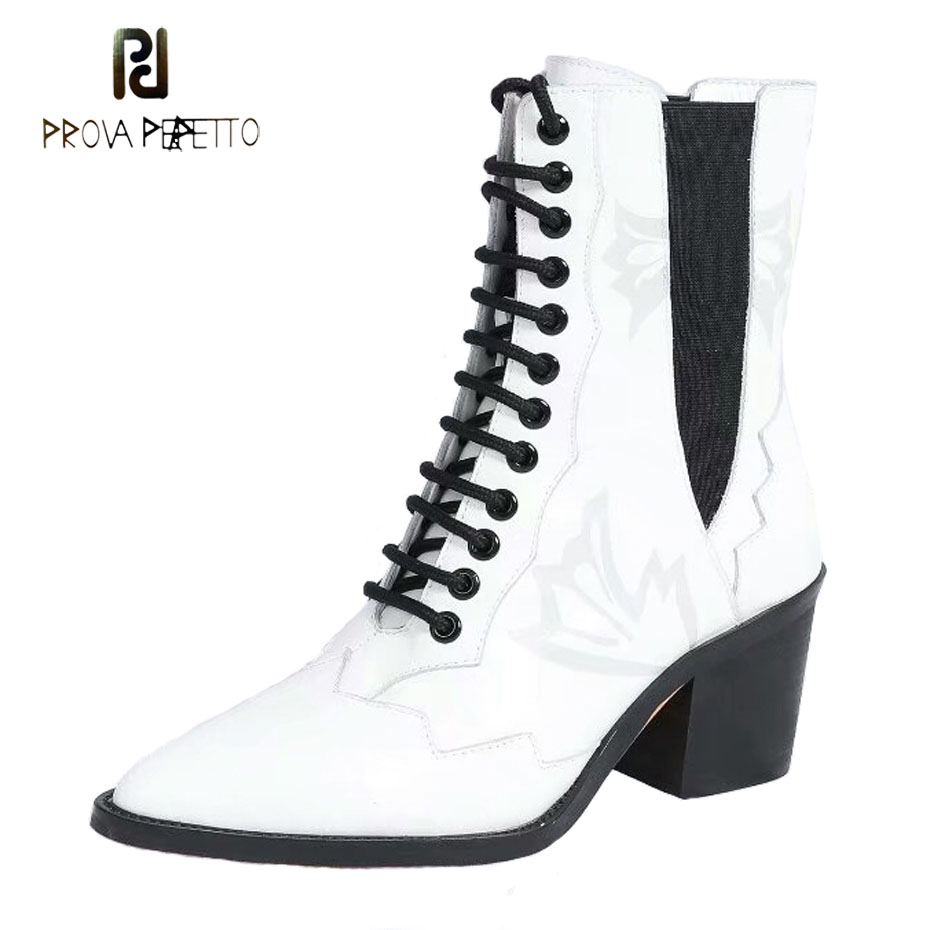 Prova Perfetto euramerican pointed toe chunky heel chelsea boots women black white genuine leather cross tied knight boot female цена 2017