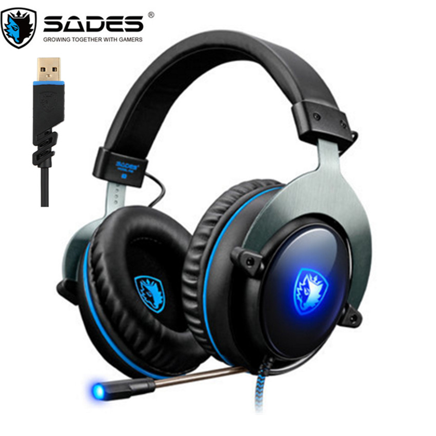 SADES R12 USB 7.1 Surround Sound Gaming Headphones Bass Casque with Mic Led R3 PS4 Headset gaming for New Xbox one PC PUBG Game sades sa 902 gaming headphones with microphone mic led light usb 7 1 surround sound pc headset gaming earphone for compuer gamer