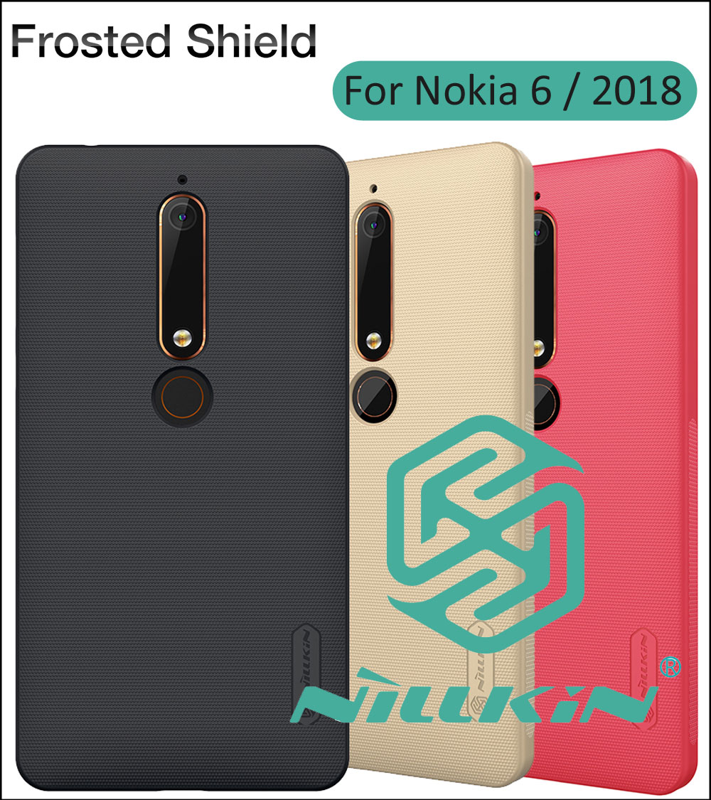 Nillkin Frosted Cover Case For Nokia 6.1 6 2018 Back Protective Shell Shield + Screen Film