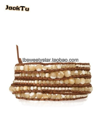 Free Shipping brown shell beads with silver nuggets leather wrap bracelet