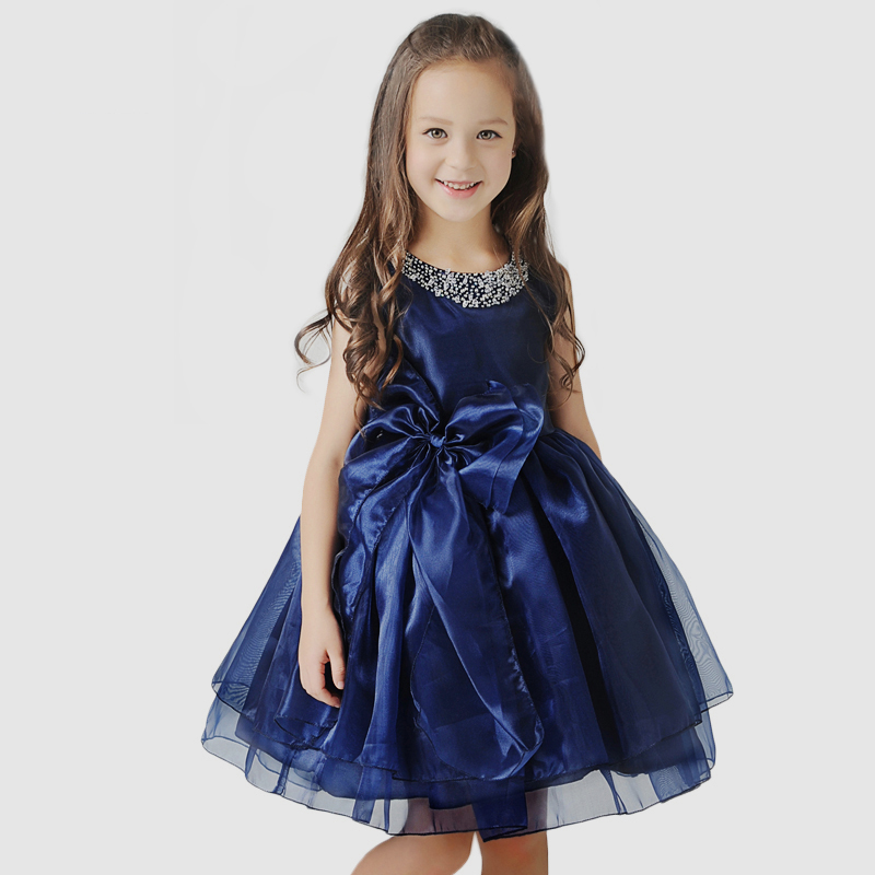 2-12Y bow flower gir dress beading knee-length ball gown girls pageant dress for party costume O-neck sleeveless princess dress