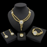 Yulaili Free Shipping New Coming Flower Design Hot Selling Pure Gold Color Dubai Jewelry Sets
