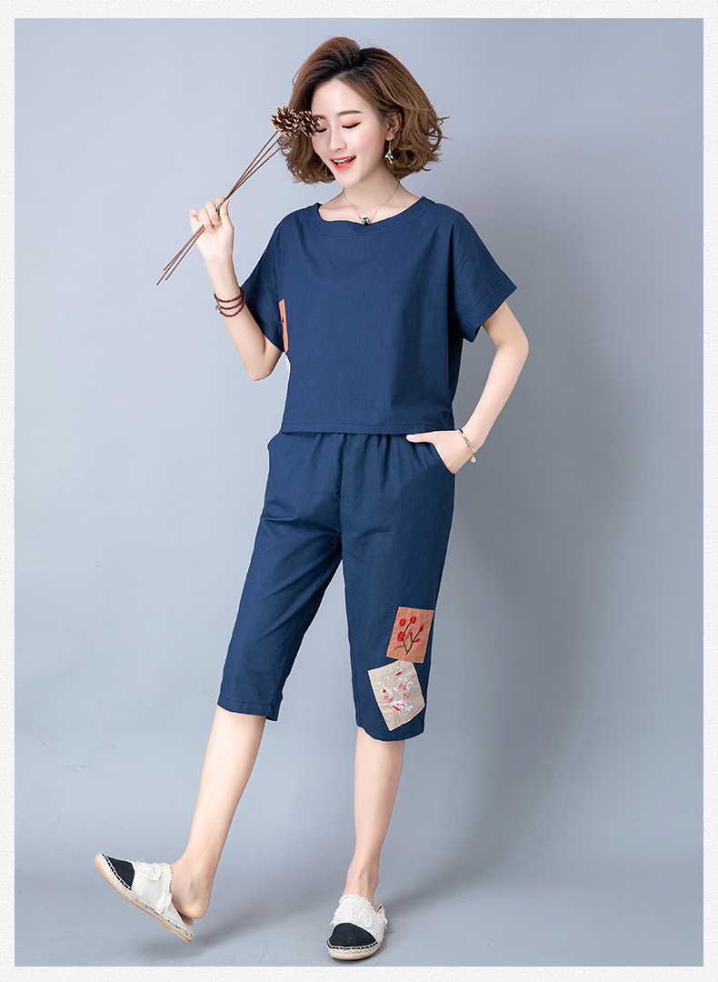 2019 Summer Cotton Linen Vintage Two Piece Sets Women Embroidery Patchwork Short Sleeve Tops And Cropped Pants Causal Suits 43