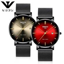 NIBOSI Fashion Man Design Stainless Steel Analog Alloy Quartz Wrist Watch Mens Watches Top Brand Luxury Mesh Steel Waterproof стоимость