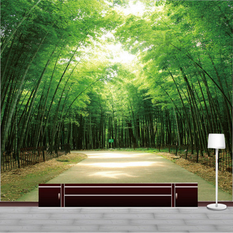 3d home decorating custom wallpaper for living room TV background wall decorate photo wall mural landscape bamboo wallpaper custom green 3d large natural landscape living room tv background wallpaper mural fresh grass mountain animal sheep for walls