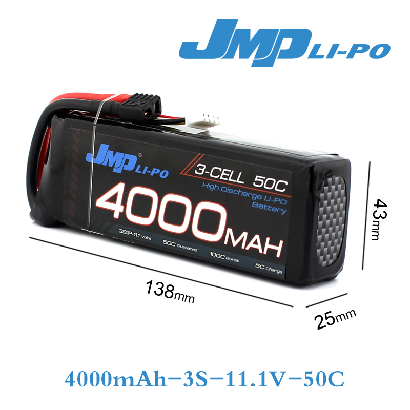 где купить JMP Lipo Battery 3S 4000mAh Lipo 11.1V Battery Pack 50C Battery for 1/10 Car 1/8 RC Car for Traxxas Slash Emaxx Bandit UNLIMITED дешево