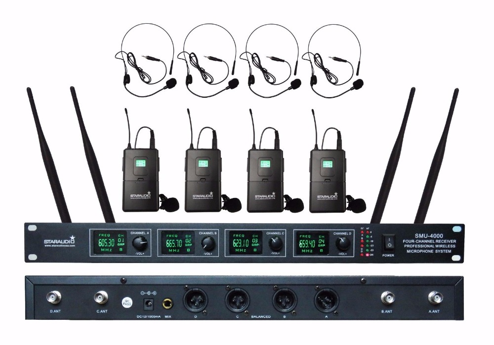 STARAUDIO  4 Channel Wireless Microphone System  Headset Lapel Microphones Cordless Mic for Karaoke Stage Church SMU-4000B hot sale rechargeable handheld mic 200 selectable channel em3033 skm 5200 skm5200 wireless microphone system for stage ka