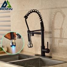 Роскошный Свет Двойной Поворотный Излив Кухонный Кран Горячей и Холодной Воды Одной Ручкой Ванной Смесители Кухня