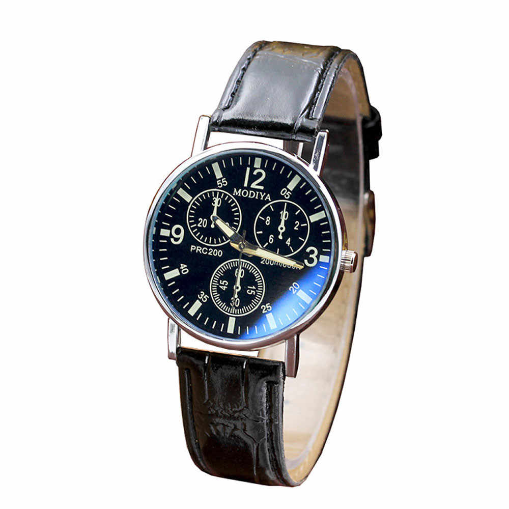 Fashion Brand Men's business Analog Quartz Watches Luxury Brand Six Pin Blue Glass Leather Belt Watch Mens Wristwatch Male Clock
