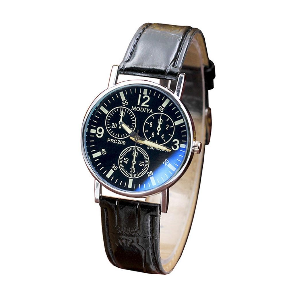 Fashion Brand Men's Business Analog Quartz Watches Luxury Brand Six Pin Blue Glass Leather Belt Watch Mens Wristwatch Male Clock