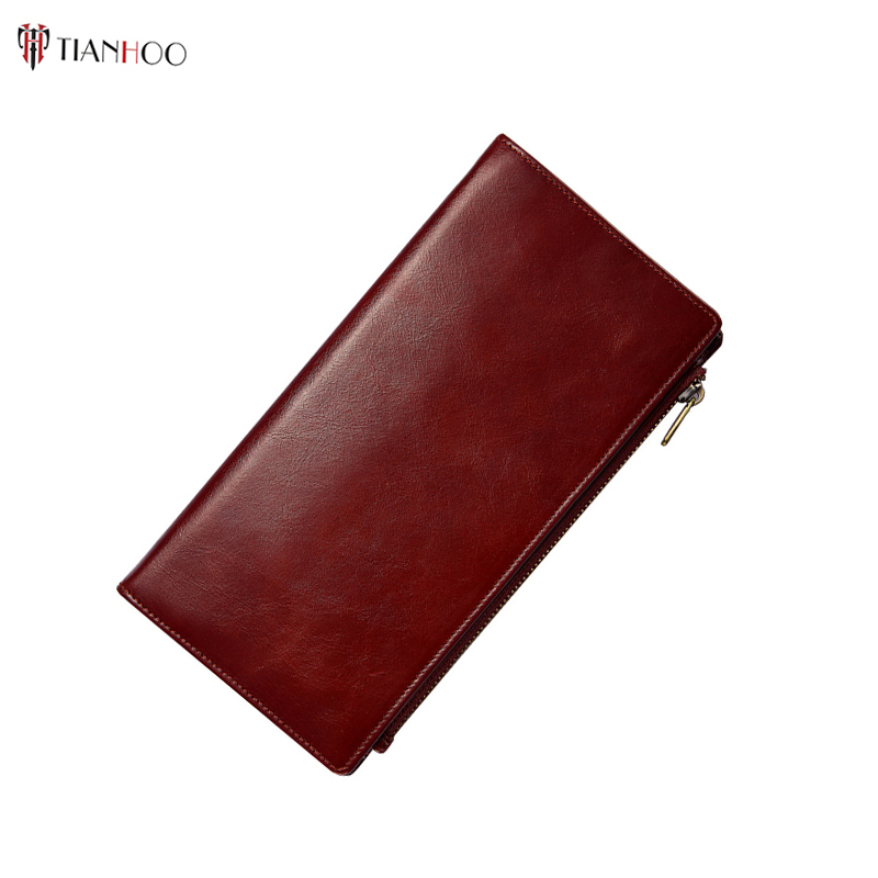 TIANHOO Brand Genuine Leather Wallet Long Thin Purse RFID Cowhide Multiple Cards Holder Clutch bag Fashion Standard Wallet