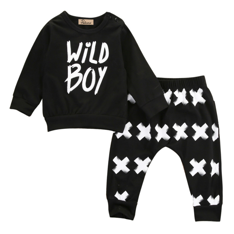 2PCs Toddler Newborn Baby Boys Kids Long Sleeve Cotton Letter T Shirt Tops+Long Pants Kids Infant Clothes Outfit Sunsuit 0-2Y