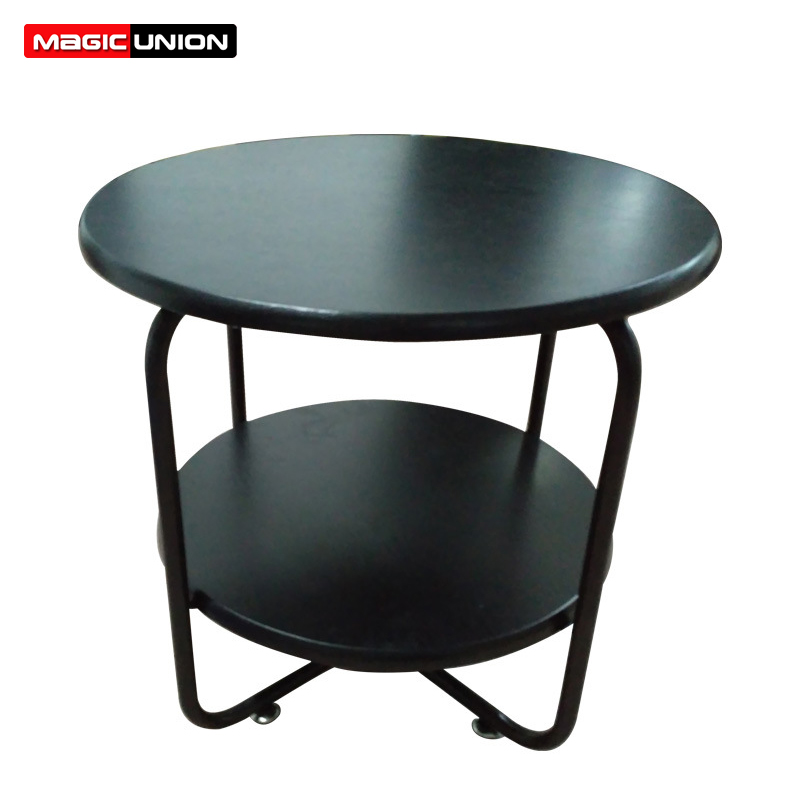 Magic Union Simple Iron Frame Indoor Movable Side Table Tea Table Double layer Storage Table Home