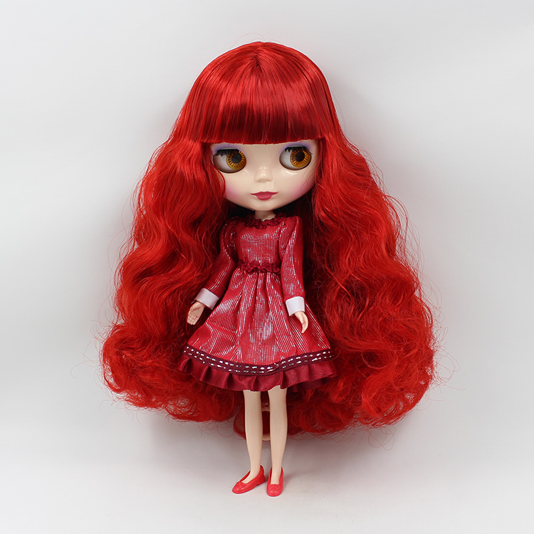Blyth doll Nude B female big eyes dolls for girls red curly long hair DIY makeup bjd blyth dolls for sale 1 8 bjd sd doll wigs for lati dolls 15cm high temperature wire long curly synthetic hair for dolls accessorries high quality wig