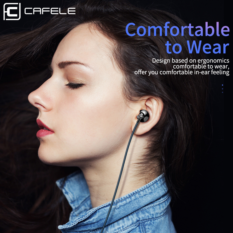 Cafele Heavy Bass Earphone Shocking 4D Sound Type C Subwoofer earphone with Microphone Sport In Ear Headset For Samsung Xiaomi in Phone Earphones Headphones from Consumer Electronics