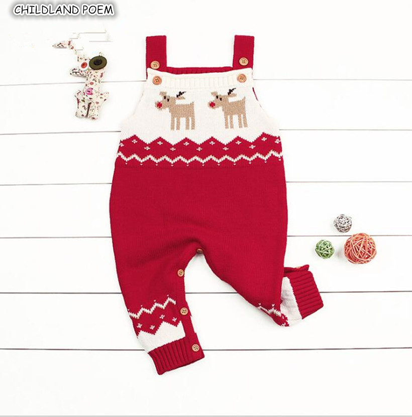 Knitting Baby Clothes Christmas Deer Baby Knitted   Romper   Infant Toddler Kids Jumpsuit Boys Girls Baby Overalls Baby boy Clothes